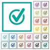 Checked data flat color icons with quadrant frames - Checked data flat color icons with quadrant frames on white background