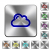 Single cloud rounded square steel buttons - Single cloud engraved icons on rounded square glossy steel buttons