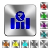 Indian Rupee financial graph rounded square steel buttons - Indian Rupee financial graph engraved icons on rounded square glossy steel buttons