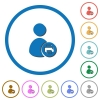 Print user account icons with shadows and outlines - Print user account flat color vector icons with shadows in round outlines on white background