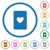 Two of hearts card icons with shadows and outlines - Two of hearts card flat color vector icons with shadows in round outlines on white background