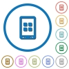 Mobile applications icons with shadows and outlines - Mobile applications flat color vector icons with shadows in round outlines on white background