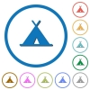 Tent icons with shadows and outlines - Tent flat color vector icons with shadows in round outlines on white background