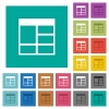Spreadsheet vertically merge table cells multi colored flat icons on plain square backgrounds. Included white and darker icon variations for hover or active effects. - Spreadsheet vertically merge table cells square flat multi colored icons