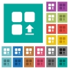 Upload component square flat multi colored icons - Upload component multi colored flat icons on plain square backgrounds. Included white and darker icon variations for hover or active effects.