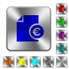 Euro financial report rounded square steel buttons - Euro financial report engraved icons on rounded square glossy steel buttons