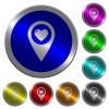Favorite GPS map location luminous coin-like round color buttons - Favorite GPS map location icons on round luminous coin-like color steel buttons