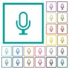 Microphone flat color icons with quadrant frames - Microphone flat color icons with quadrant frames on white background