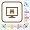 Print screen simple icons - Print screen simple icons in color rounded square frames on white background