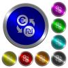 Euro new Shekel money exchange luminous coin-like round color buttons - Euro new Shekel money exchange icons on round luminous coin-like color steel buttons