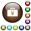 Yen bag color glass buttons - Yen bag white icons on round color glass buttons