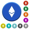 Ethereum digital cryptocurrency beveled buttons - Ethereum digital cryptocurrency round color beveled buttons with smooth surfaces and flat white icons