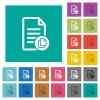 Copy document square flat multi colored icons - Copy document multi colored flat icons on plain square backgrounds. Included white and darker icon variations for hover or active effects.