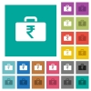 Indian Rupee bag square flat multi colored icons - Indian Rupee bag multi colored flat icons on plain square backgrounds. Included white and darker icon variations for hover or active effects.