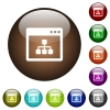 Networking application color glass buttons - Networking application white icons on round color glass buttons