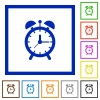 Alarm clock flat framed icons - Alarm clock flat color icons in square frames on white background