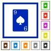 Nine of spades card flat framed icons - Nine of spades card flat color icons in square frames on white background