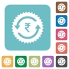 Rupee pay back guarantee sticker rounded square flat icons - Rupee pay back guarantee sticker white flat icons on color rounded square backgrounds