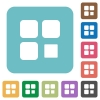 Component stop rounded square flat icons - Component stop white flat icons on color rounded square backgrounds