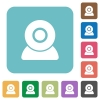 Webcam rounded square flat icons - Webcam white flat icons on color rounded square backgrounds