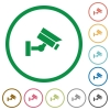 Security camera flat icons with outlines - Security camera flat color icons in round outlines on white background