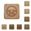 Steering wheel wooden buttons - Steering wheel on rounded square carved wooden button styles
