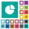 Pie chart square flat multi colored icons - Pie chart multi colored flat icons on plain square backgrounds. Included white and darker icon variations for hover or active effects.