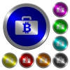 Bitcoin bag luminous coin-like round color buttons - Bitcoin bag icons on round luminous coin-like color steel buttons
