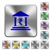 Indian Rupee bank office rounded square steel buttons - Indian Rupee bank office engraved icons on rounded square glossy steel buttons