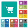 Empty shopping cart square flat multi colored icons - Empty shopping cart multi colored flat icons on plain square backgrounds. Included white and darker icon variations for hover or active effects.