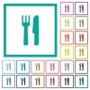 Cutlery flat color icons with quadrant frames - Cutlery flat color icons with quadrant frames on white background