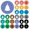 Christmas tree round flat multi colored icons - Christmas tree multi colored flat icons on round backgrounds. Included white, light and dark icon variations for hover and active status effects, and bonus shades on black backgounds.