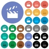 Clapperboard round flat multi colored icons - Clapperboard multi colored flat icons on round backgrounds. Included white, light and dark icon variations for hover and active status effects, and bonus shades on black backgounds.