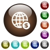 Online Dollar payment color glass buttons - Online Dollar payment white icons on round color glass buttons