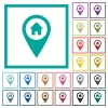 Home address GPS map location flat color icons with quadrant frames - Home address GPS map location flat color icons with quadrant frames on white background