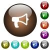 Megaphone color glass buttons - Megaphone white icons on round color glass buttons