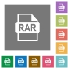 RAR file format square flat icons - RAR file format flat icons on simple color square backgrounds