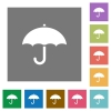 Umbrella square flat icons - Umbrella flat icons on simple color square backgrounds
