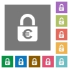 Locked euros square flat icons - Locked euros flat icons on simple color square backgrounds