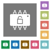 Hardware unlocked flat icons on simple color square backgrounds - Hardware unlocked square flat icons