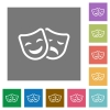 Comedy and tragedy theatrical masks flat icons on simple color square backgrounds - Comedy and tragedy theatrical masks square flat icons