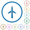 Wind turbine flat color vector icons with shadows in round outlines on white background - Wind turbine icons with shadows and outlines