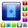 Jack of diamonds card color square buttons - Jack of diamonds card icons in rounded square color glossy button set