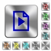 Playlist rounded square steel buttons - Playlist engraved icons on rounded square glossy steel buttons
