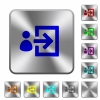 User login rounded square steel buttons - User login engraved icons on rounded square glossy steel buttons
