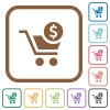 Checkout with Dollar cart simple icons - Checkout with Dollar cart simple icons in color rounded square frames on white background