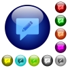 writing comment color glass buttons - writing comment icons on round color glass buttons