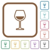 Glass of wine simple icons - Glass of wine simple icons in color rounded square frames on white background