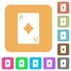 Eight of diamonds card flat icons on rounded square vivid color backgrounds. - Eight of diamonds card rounded square flat icons