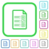 Questionnaire document vivid colored flat icons - Questionnaire document vivid colored flat icons in curved borders on white background